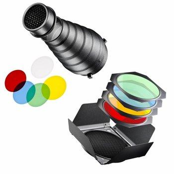 walimex Reflector & Snoot Set incl  kleurenfilters voor de Serie