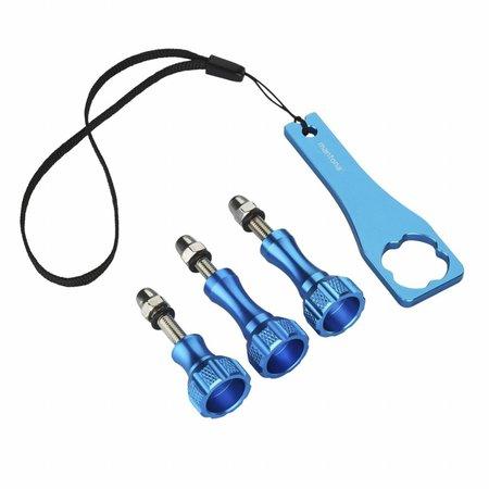 mantona GoPro Schroef set + aluminium knop blauw