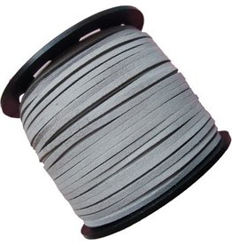 Suede veter imitatie 3 mm lichtgrijs (1m)