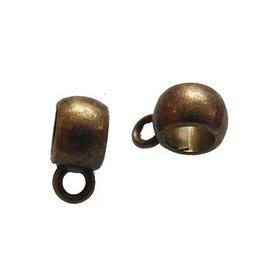 Kraal met oog, antiek brons 8 mm (10x)