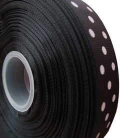 Zwart ribbellint stippen 25 mm (1m)