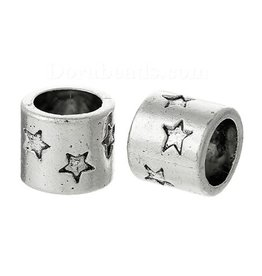 Cillinderkraal met sterren zilver (3x)