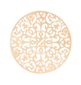 Bohemian filigraanhanger rond rosegoud 40 mm (1x)