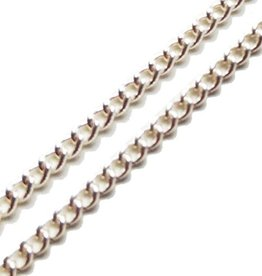 Zilverkleurige ketting ovale schakel (p 10 cm)