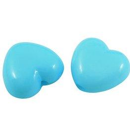 Blauwe hartjeskralen (15x)
