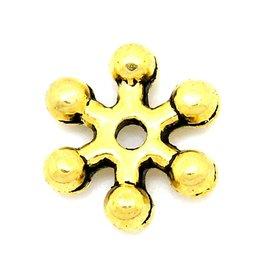 Sneeuwvlokkraal antiek goudkleurig (15x)