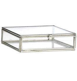 Glazen doosje vierkant zilver