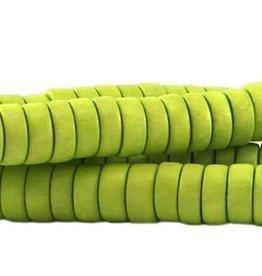 Houten kralen disk limegroen (streng)