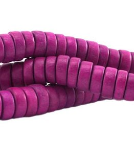Houten kralen disk warm paars (streng)