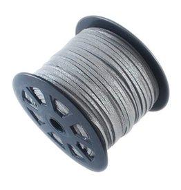 Zilverkleurig suede 3 mm (p/m)