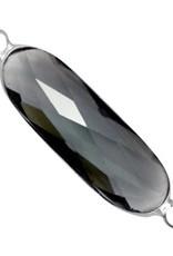Tussenstuk crystalglas zwart zilver (1x)