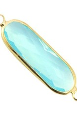 Tussenstuk crystalglas aquablauw goud (1x)