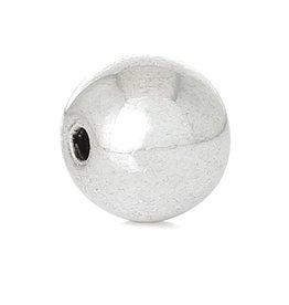 Ronde metalen kraal zilver glanzend 8 mm (10x)