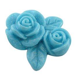 Cabochon blauwe bloem (5x)