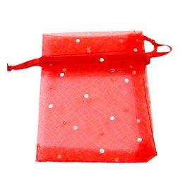 Organza zakjes rood met witte stippen (3x)
