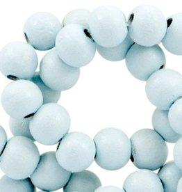 Houten kraal rond bleekblauw 6 of 8 mm