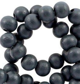 Houten kraal rond mat zwart 6 mm (25x)