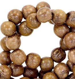 Ronde houten kraal bruin 6 of 8 mm (streng)