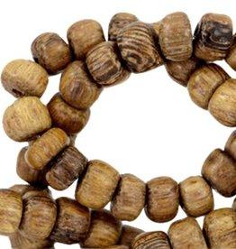 Streng houten kralendisk bruin 6,5 x 4 mm (90x)