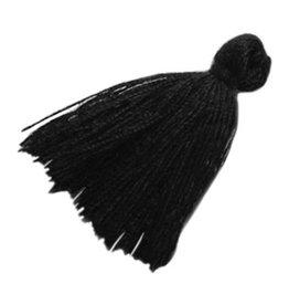 Kwastje zwart (2x)