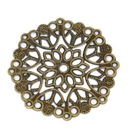 Bedel filigraan bloem antiek brons (1x)