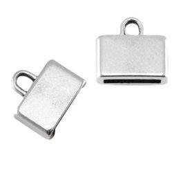DQ metalen eindkap antiek zilver 10 mm (1x)
