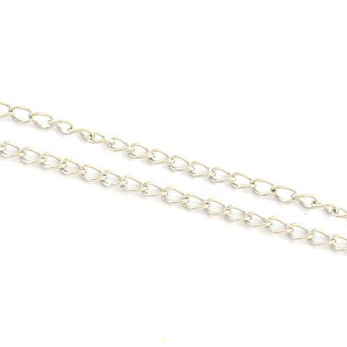 Fijne schakelketting stainless steel (p/10 cm)