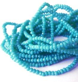 Glaskraal facet 3 mm turquoise (streng)