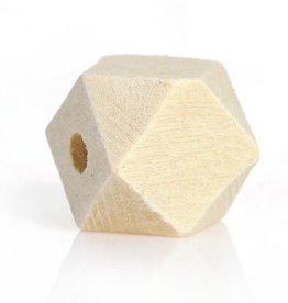 Houten facetkraal 20 mm (3x)