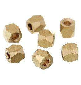 Facet polygonkraal goudkleurig 2 mm (15x)
