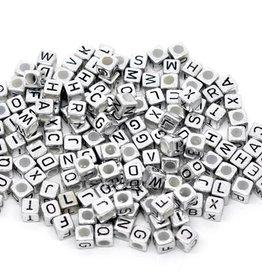 Letterkralen kubus zilverkleurig