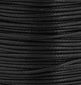 Waxkoord katoen zwart 1 mm (5m)