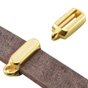 DQ metaal schuiver goud met oog 10 mm(1x)