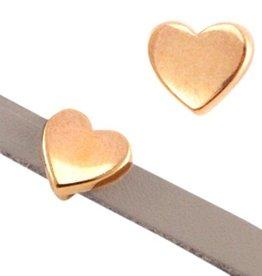 DQ metaal schuiver rose goud hart 10 mm (1x)