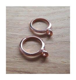 DQ metaal schuiver platte ring met oog  rose goud (1x)