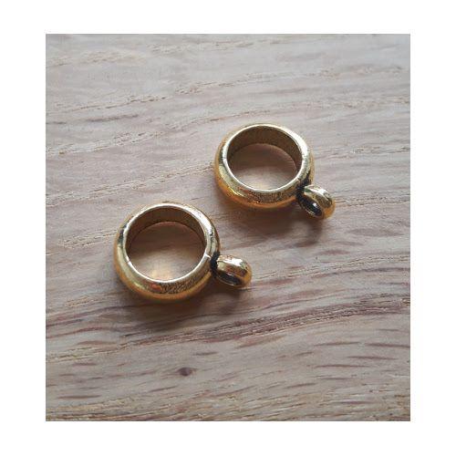 DQ metaal schuiver ring met oog  rose goud 6 mm (1x)