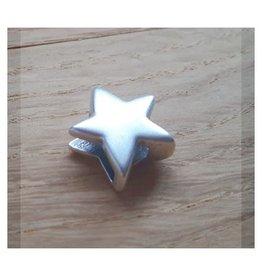 DQ metaal schuiver ster zilver 10 mm (1x)