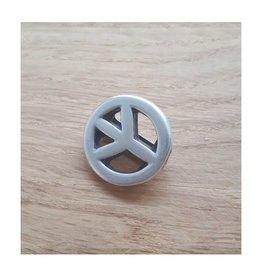 DQ metaal schuiver peace zilver 10 mm (1x)