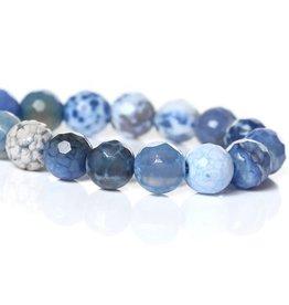 Streng agaatkralen facetgeslepen blauw (ca 63x)