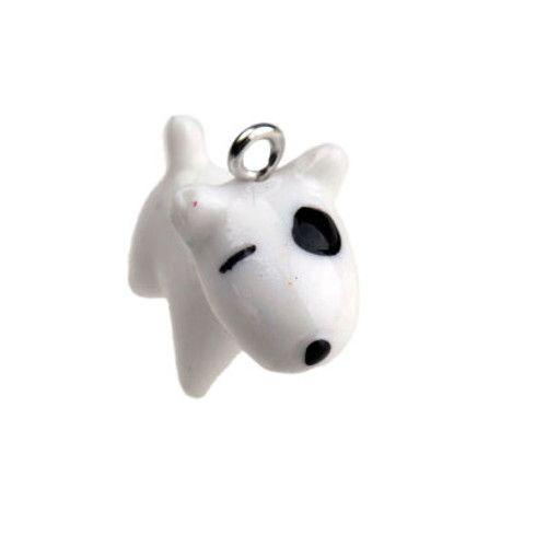 Kunstharsbedel hondje wit