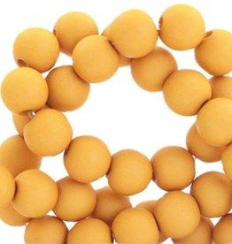 Ronde acrylkraal mat goudgeel 6 mm (30x)