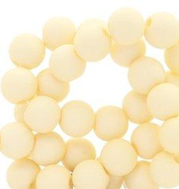 Ronde acrylkraal mat vanillegeel 6 mm (30x)