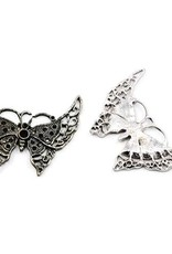 Bulk bedel vlinder antiek zilver XL (20x)