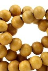 Houten kraal okergeel semi rond 6 mm (streng)