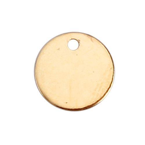 Metalen DQ label / muntje rond verguld 7 mm (1x)
