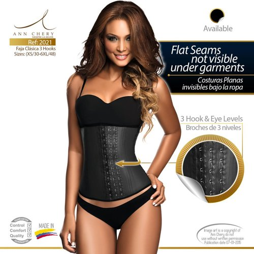 Ann Chery Latex Waist Trainer 3 hooks Black - long torso