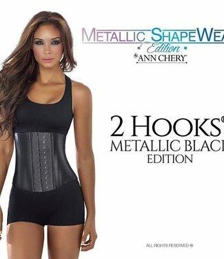Ann Chery Waist Trainer Metallic Latex short torso 2 hooks black