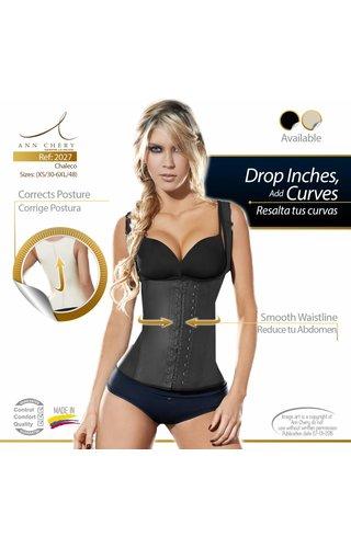 Ann Chery Waist Trainer Full Vest Latex Zwart 2 hooks - lang model