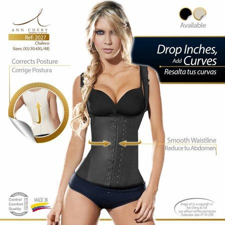 Ann Chery Waist Trainer Full Vest Latex Black 2 Hook