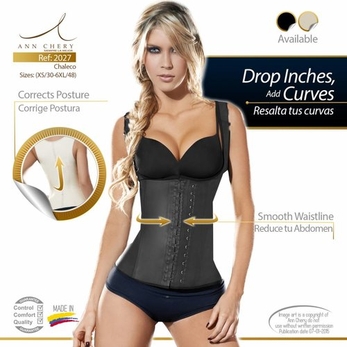 Ann Chery Waist Trainer Full Vest Latex Zwart 2 hooks - lang model